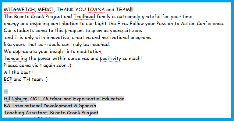 Email Thank you Letter from Trailhead and Brontee Creek Project -Nov 2014