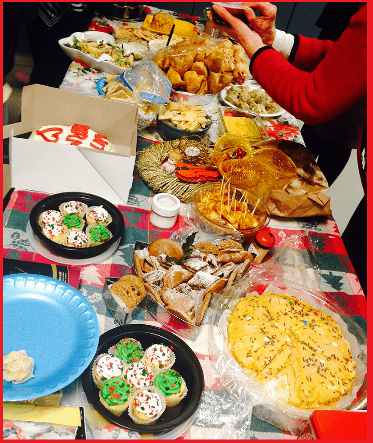 Christmas Potluck at Burlington Class