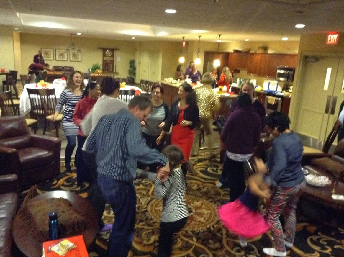 After meditation and potluck Everyone is Dancing at Christmas Party