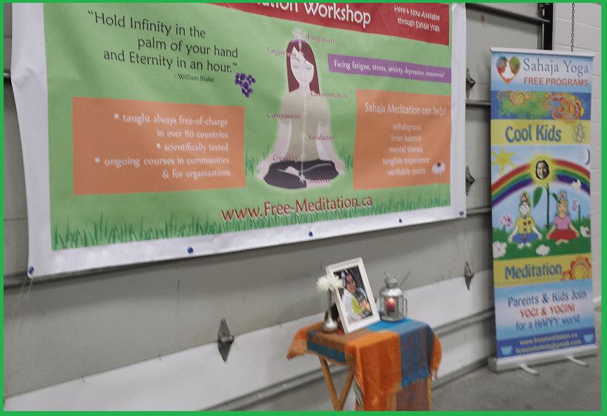 Set-up - sahaja yoga meditation at Oaxfort Auditorium - Health and Spiritual Wellness Fair -Woodstocck Feb 1 2015