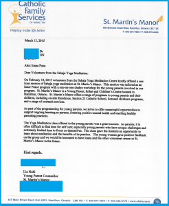 "Appreciation Letter for ""Inner peace workshop"" @ St Martin's Manor (Hamilton Centre for Young Parents)"