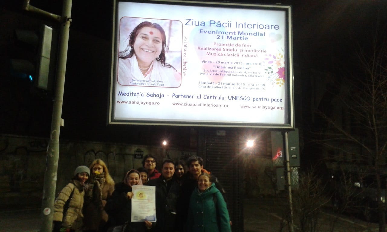 Yogis gathered in the Night - Bucharest Romania 2015 - Bring awareness on Worlds Inner peace Day