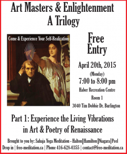 "NOT to BE MISSED: ""Art Masters & Enlightenment""- FREE PUBLIC PROGRAMS in HALTON/HAMILTON area"