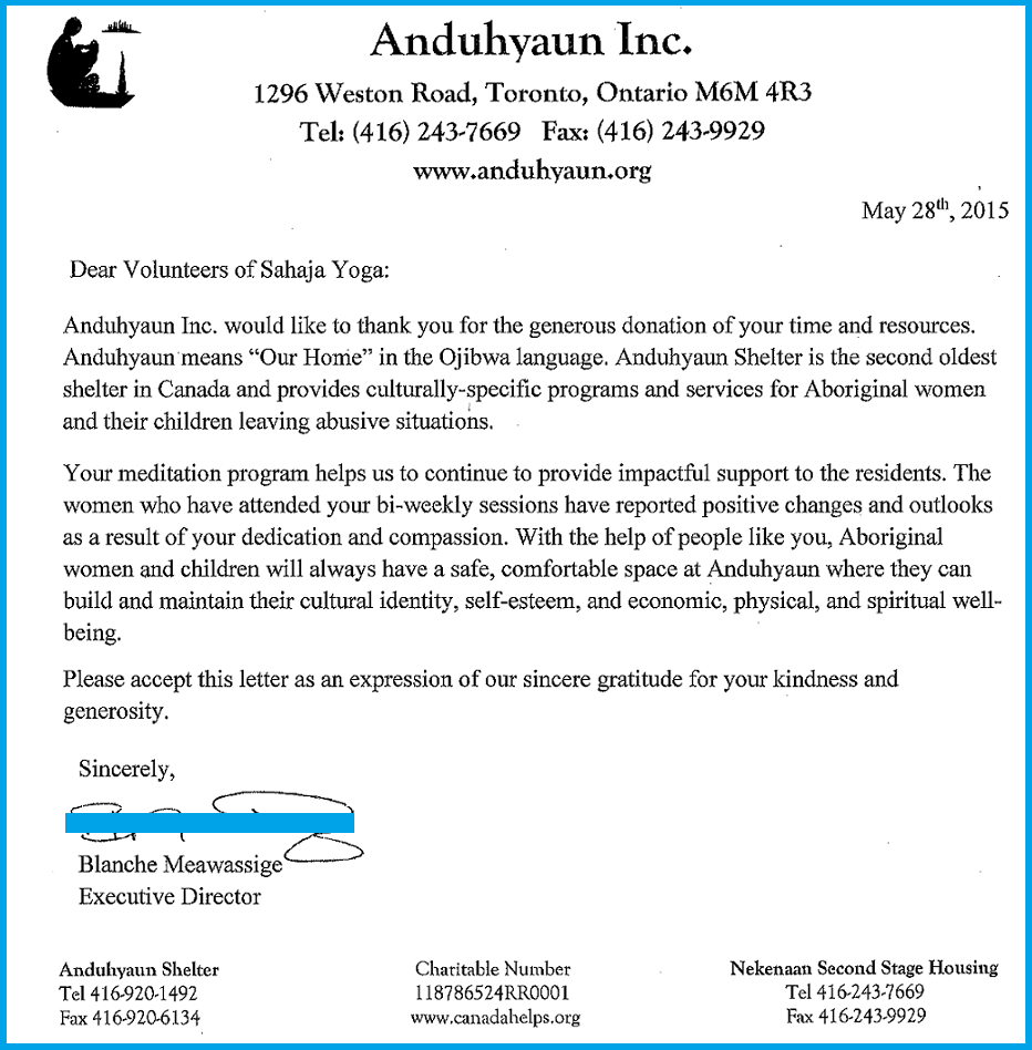 Anduhyaun - Aboriginal Shleter Toronto - Thank you Letter May 28-2105-s