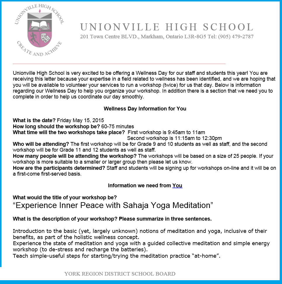 Unionsville Invite -Collaborations with Sahaja Yoga Meditation