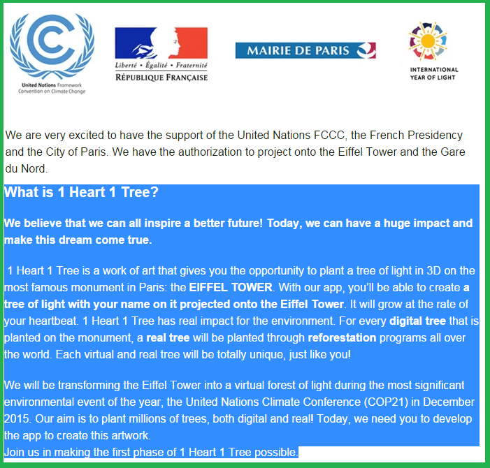 The Superhero Academy in Paris @ Eiffel Tower (cool check!) Be Part of 1 Heart 1 Tree @ United Nations Climate Conference 2015