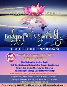 "The Indian Classical Vocal Music Therapy Arrives in Barrie! Sahaja Yoga Meditation Celebrates 2 Years in Barrie with FREE Public Program: ""Bridging Art & Spirituality"""