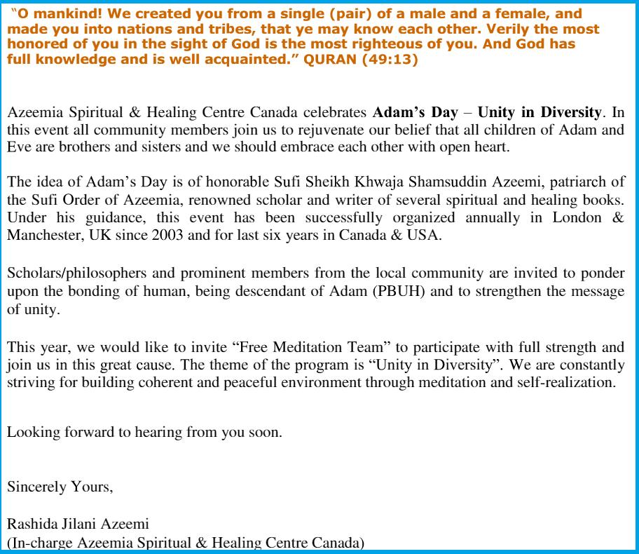 Invitation to Free Meditation -Sahaja Yoga Meditation -2015
