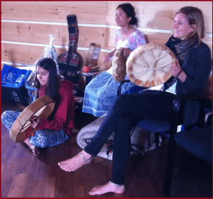 (45 Seconds) Native Drums with Youth Meditators at Round House of New Credit First Nation