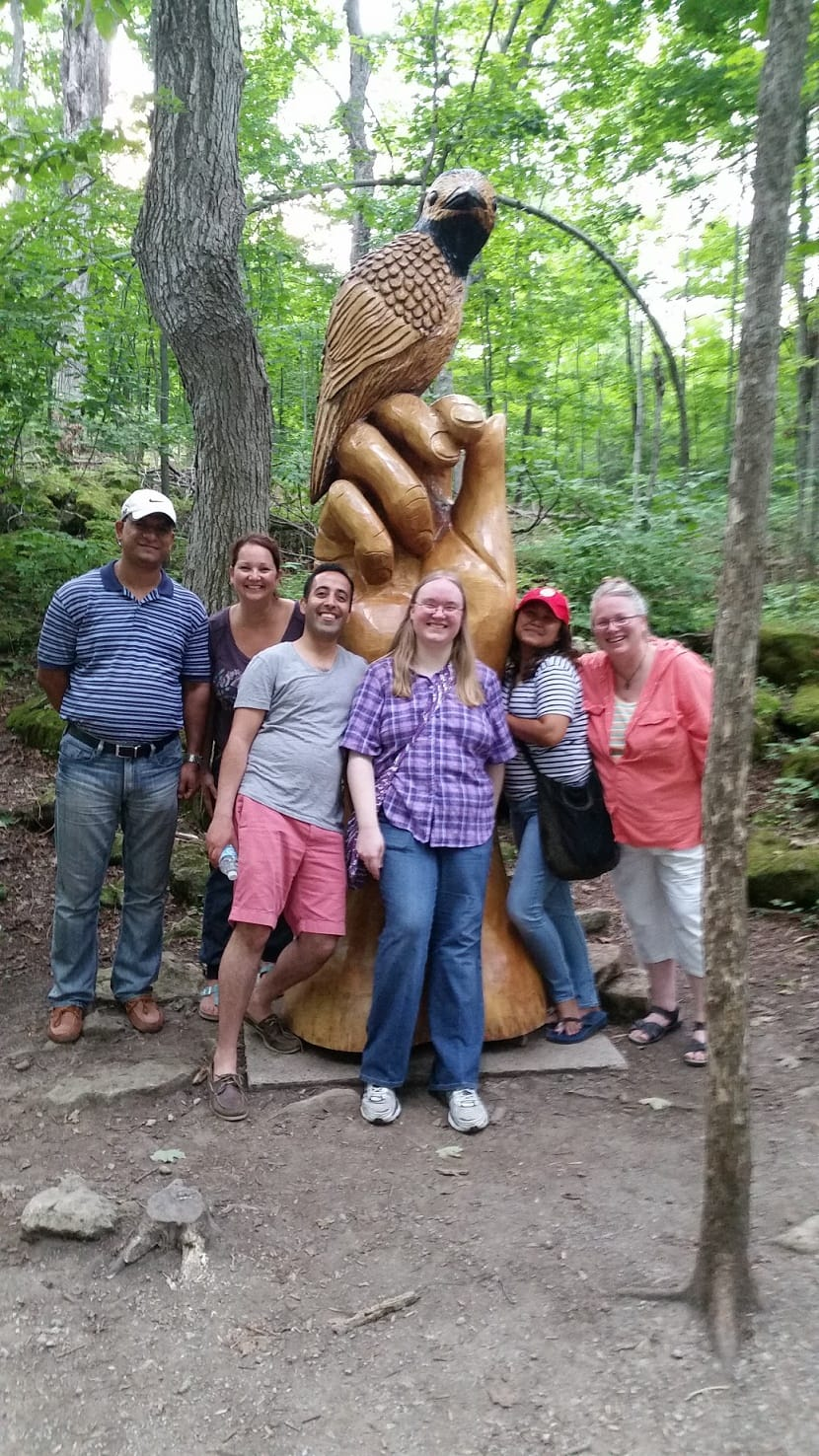 Mohinder Paula - USA Yogi - Samantha Kathleen and Colleen at Crawford Lake with Youth Realize Canada Tour - Native Indian Sculpture
