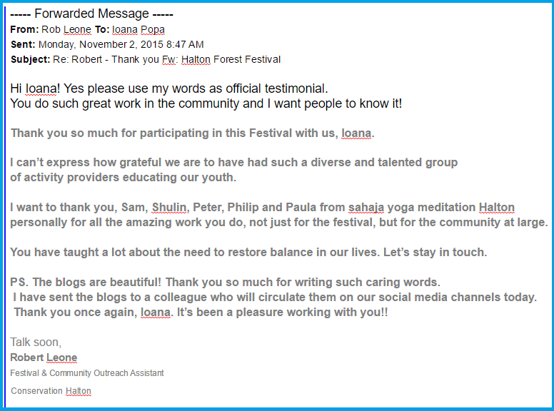 Email Appreciation to Sahaja Yoga meditation from Robert Leone - Halton Forest Festival