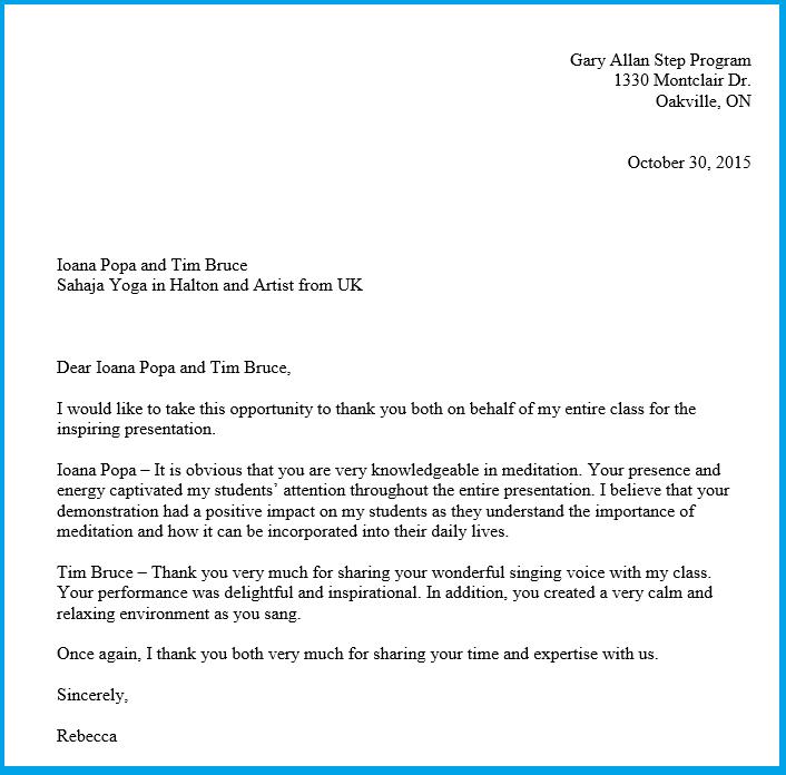 Thank you letter from teacher Gary Allan Step program Oakville -2015