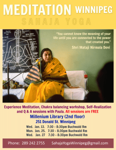 Meditation Marathon in Winnipeg with Burlington sahaja yoga instructor!