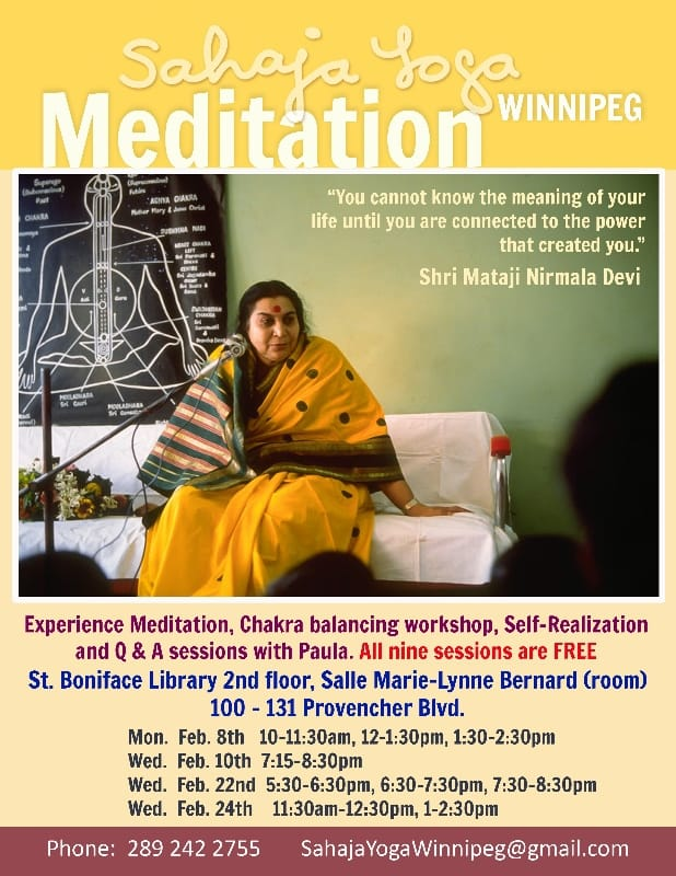 9 Free Classes Meditation Marathon in February for Winnipeg with Paula – One of Burlington's Sahaja Yoga Instructors