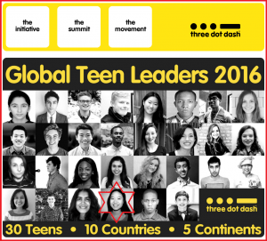 "Teen Shulin from ""Life De-Stress with Meditation"" Classes  SELECTED as GLOBAL TEEN LEADER 2016"