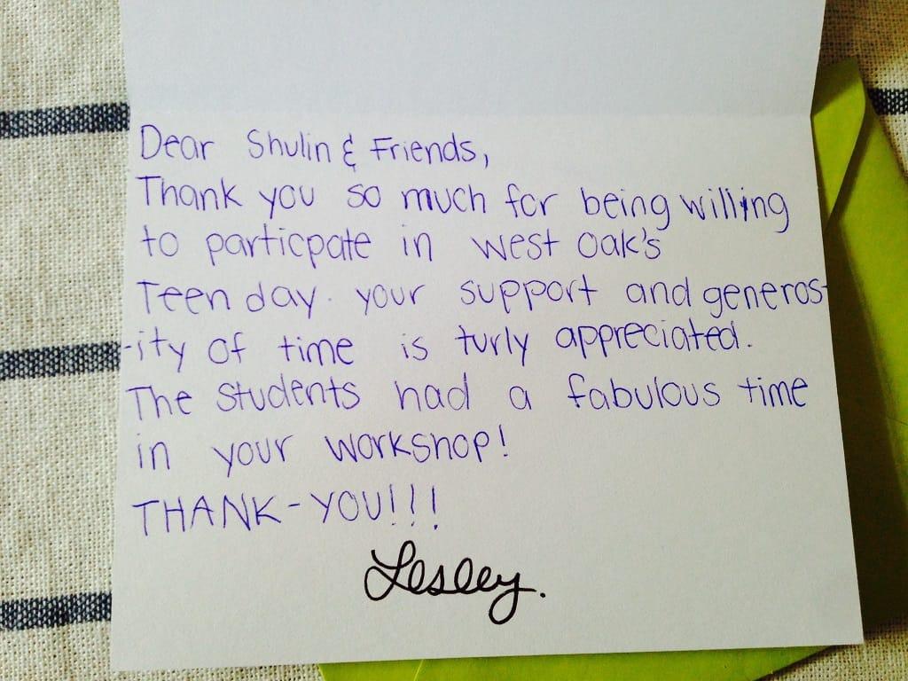 Thank you Letter for Sahaja Yoga Meditation workshop in Oak School -Oakville 2014