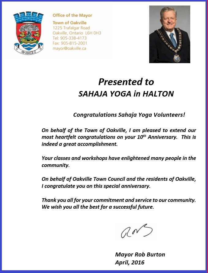 The Mayor of Oakville is Congratulating Sahaja Yoga Meditation in Halton (10 years anniversary) — LETTER & LIVE TESTIMONIALS