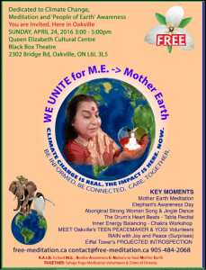 We Unite for Mother Earth | Climate Change FREE Public Program | Sunday April 24 in Oakville | RAIN to heal ME -> Mother Earth