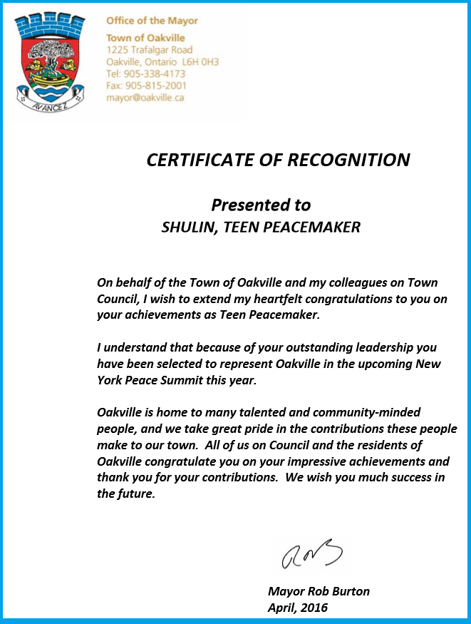 Certificate of Recognition to SHULIN from Mayor Rob Burton of Oakville - April 2016