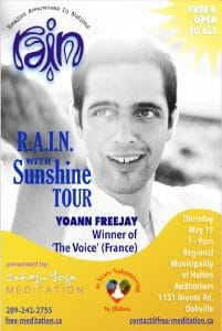 "The Winner of ""The Voice"" — Yoann FreeJay  —  Singing in the ""R.A.I.N. with SunShine "" on May 19, 7pm-9pm  in OAKVILLE"