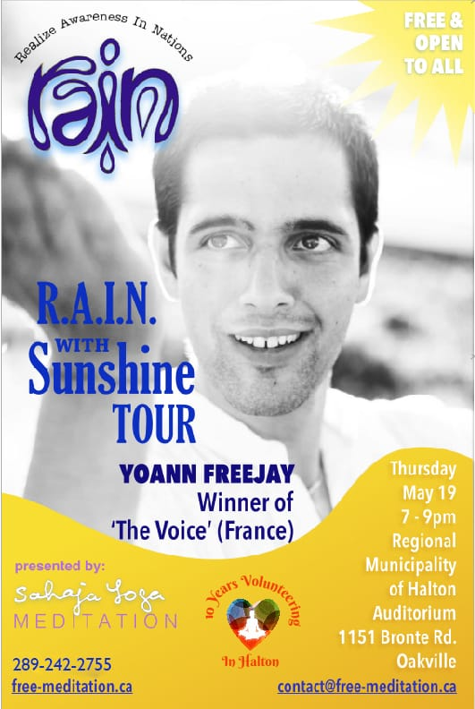 """The Winner of """"The Voice"""" — Yoann FreeJay  —  Singing in the """"R.A.I.N. with SunShine """" on May 19, 7pm-9pm  in OAKVILLE"""