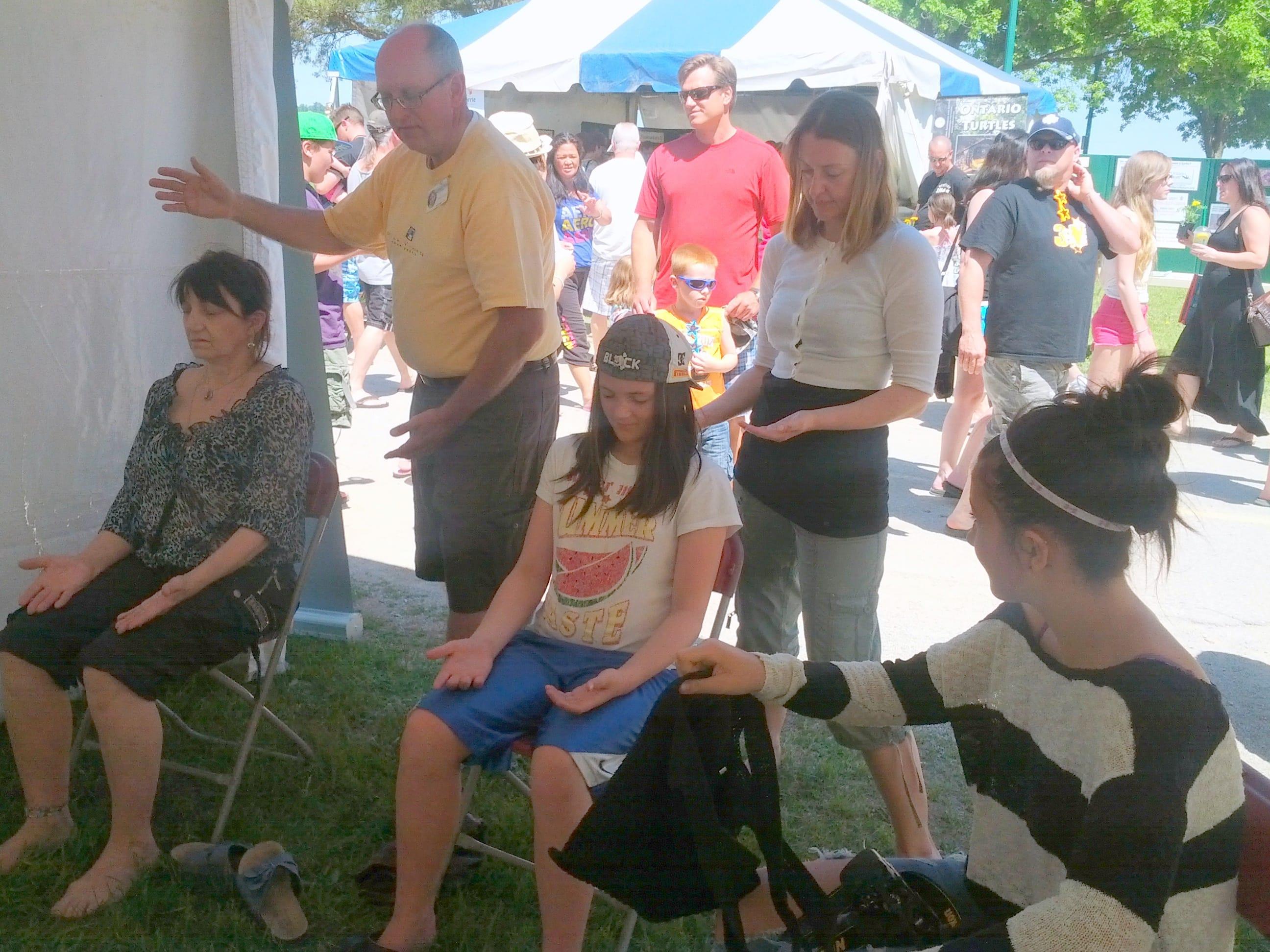 John and Isabelle offering chakra workshops at Celebrate Barrie June 1st Festival 2014