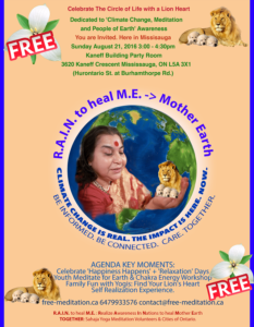 """Read more about the article Come & Celebrate """"The Circle of Life with a Lion Heart"""" – Mississauga's 1st """"RAIN to Heal M.E. ->Mother Earth"""" program! (Sun, Aug 21)"""