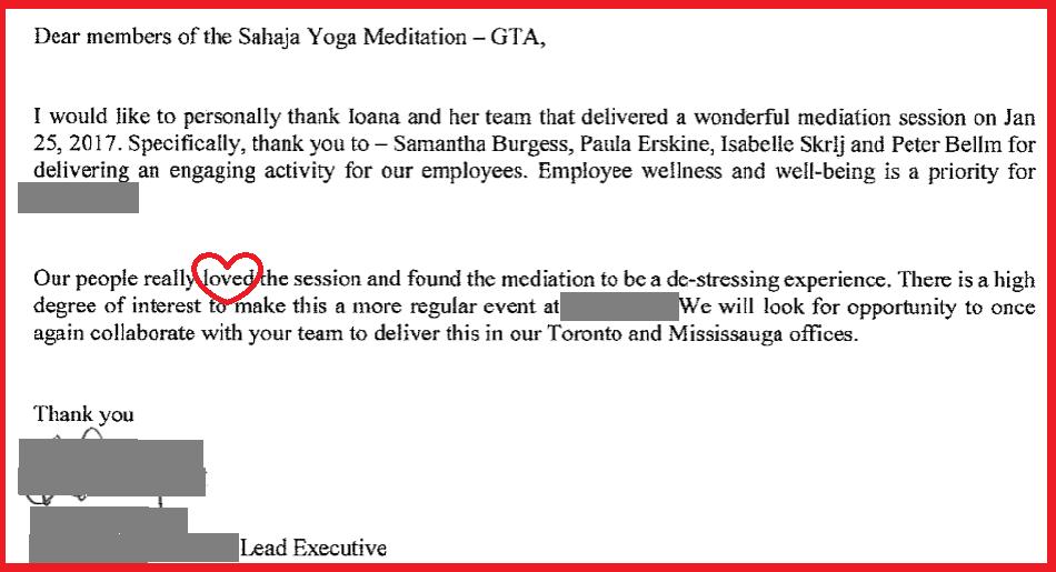 Valentine Card - Corporate Appreciation for Sahaja Yoga Meditation1