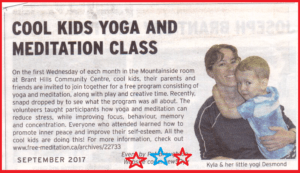 Cool Kids Yoga, Music and Meditation Class – in SNAP Magazine and on Every 1st Wednesday of Every Month!