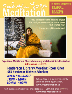 "Winnipeg Free Public Program: ""Sahaja Yoga Meditation – The Benefits and The Experience"" with DR Andrei Harabor (MD) and Cristina Harabor (MD)"