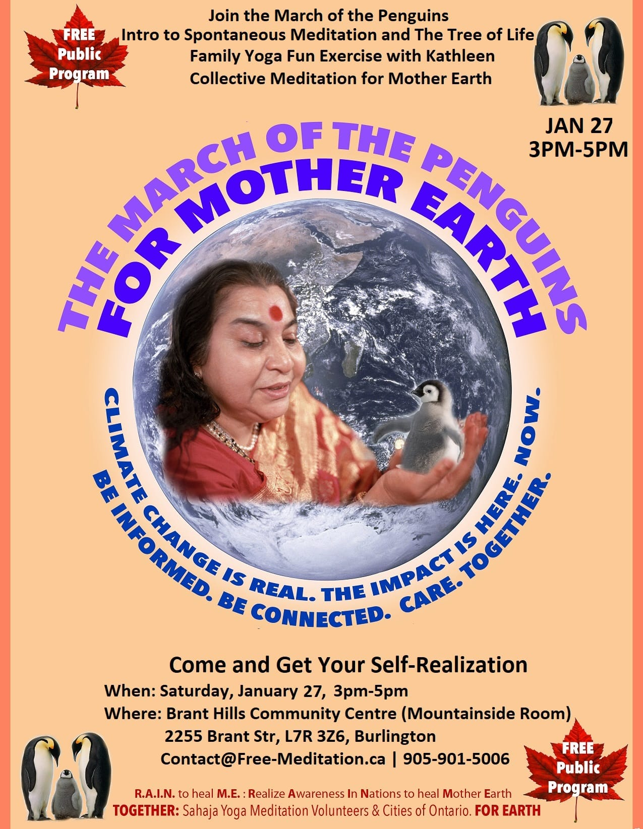 Join the March of the Penguins for The Trees of Mother Earth (Public Program on SAT, JAN 27, 2018) – RAIN to Heal M.E. Mother Earth