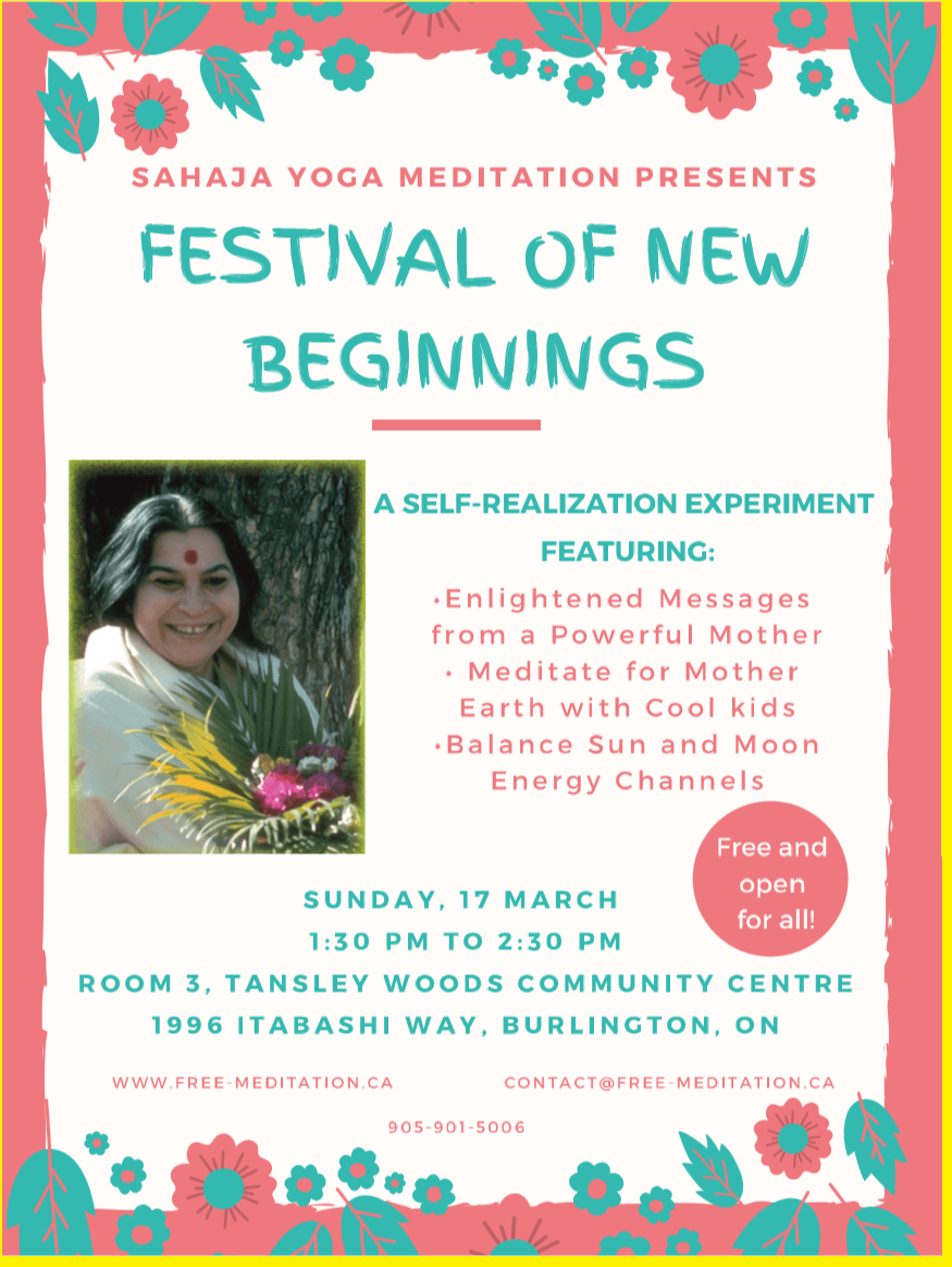 Read more about the article Join Burlington's NEW Free Festival of New Beginnings – Messages from a Powerful Mother – Earth Meditation – Energy Balance Workshop (Sun, Mar 17)