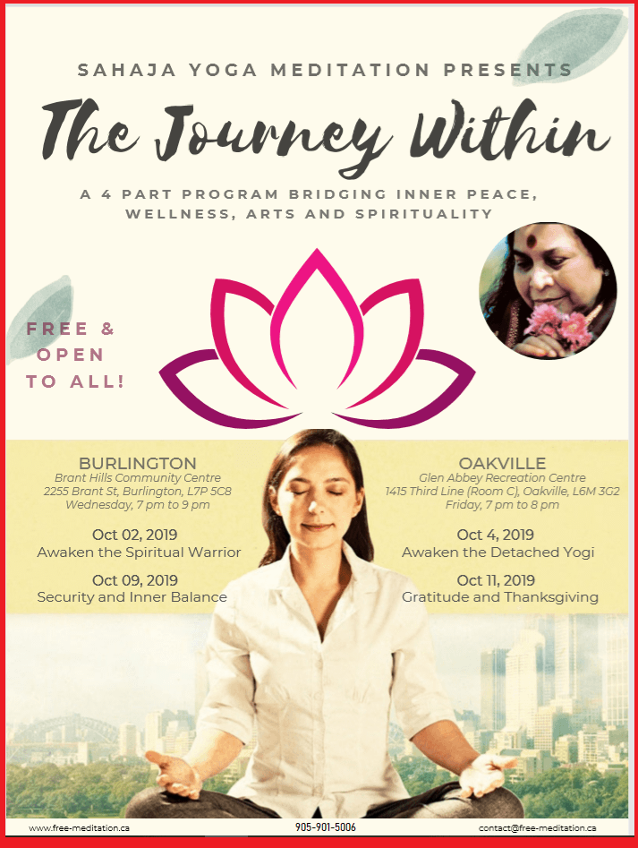 The Journey Within during NAVARATRI – You are invited to 4 Unique Public Programs (Oct 2,4,9,11 – 2019)
