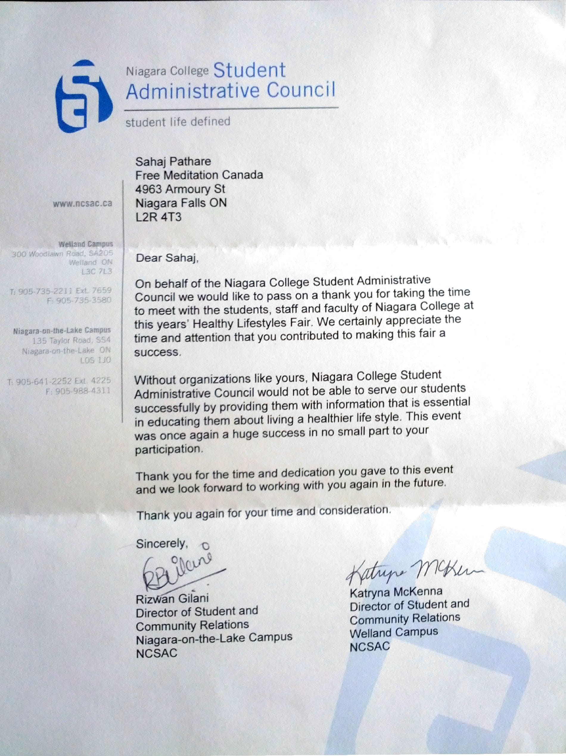 Appreciation letter from Niagara College -2013