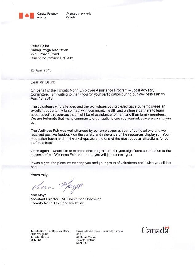 CRA 2013 - Thank you Letter for Sahaja Yoga Meditation-1
