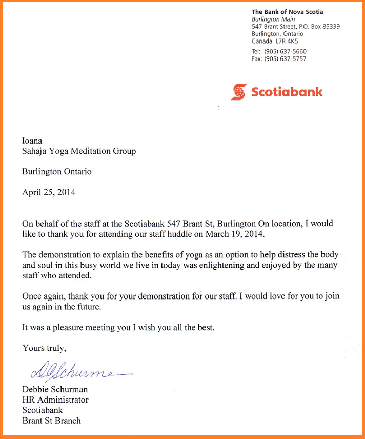 Scotia Bank - Appreciation letter