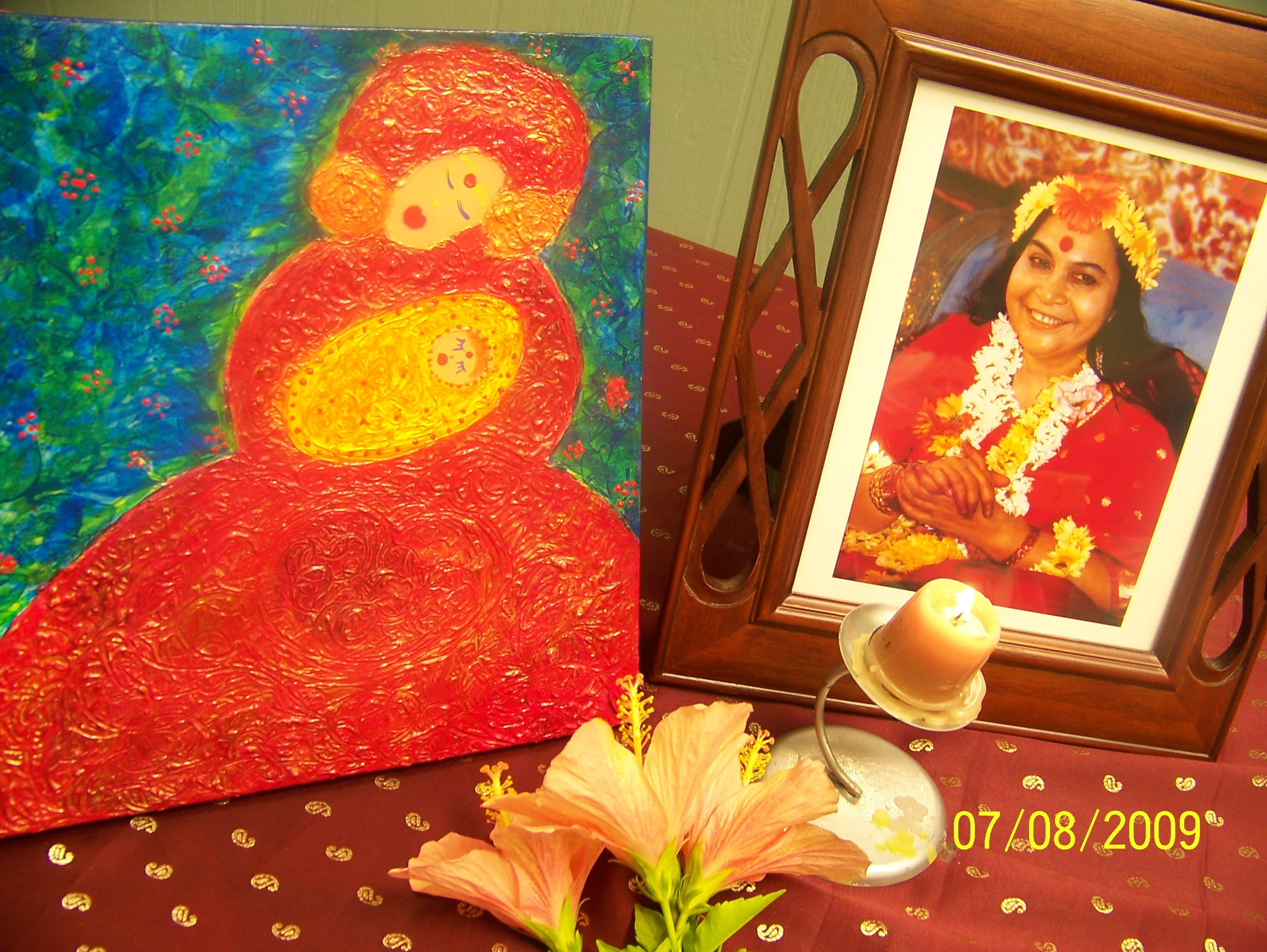 Mother and Child - Madeleine's Painting inspired and guided by Kundalini (though sahaja yoga meditation)