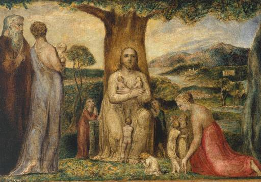 Jesus and Children/Disciples, by William Blake - Visionary Painter that was a Realized Soul