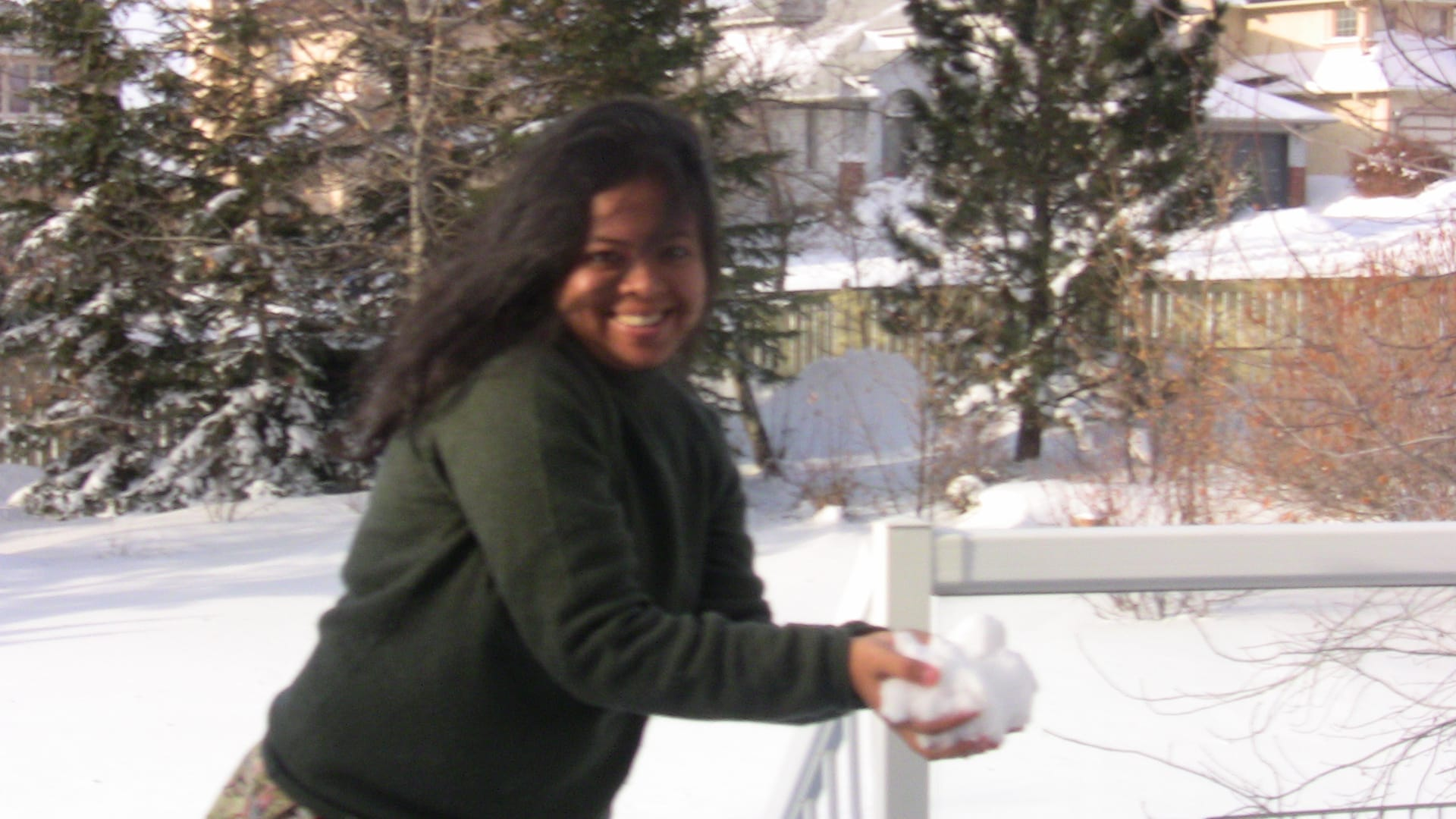 Anandita brought the First Snow to Calgary - and Smiling..