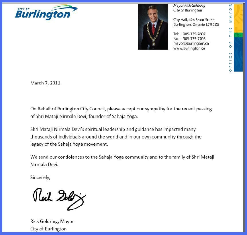 Namaste In Three Forms Condolence Letter From Mayor Of Burlington