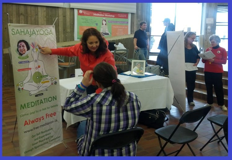 Paula from Burlington - explaining sahaja yoga meditation to Seekers at Niagara College in 2012 (Health Wellness event)