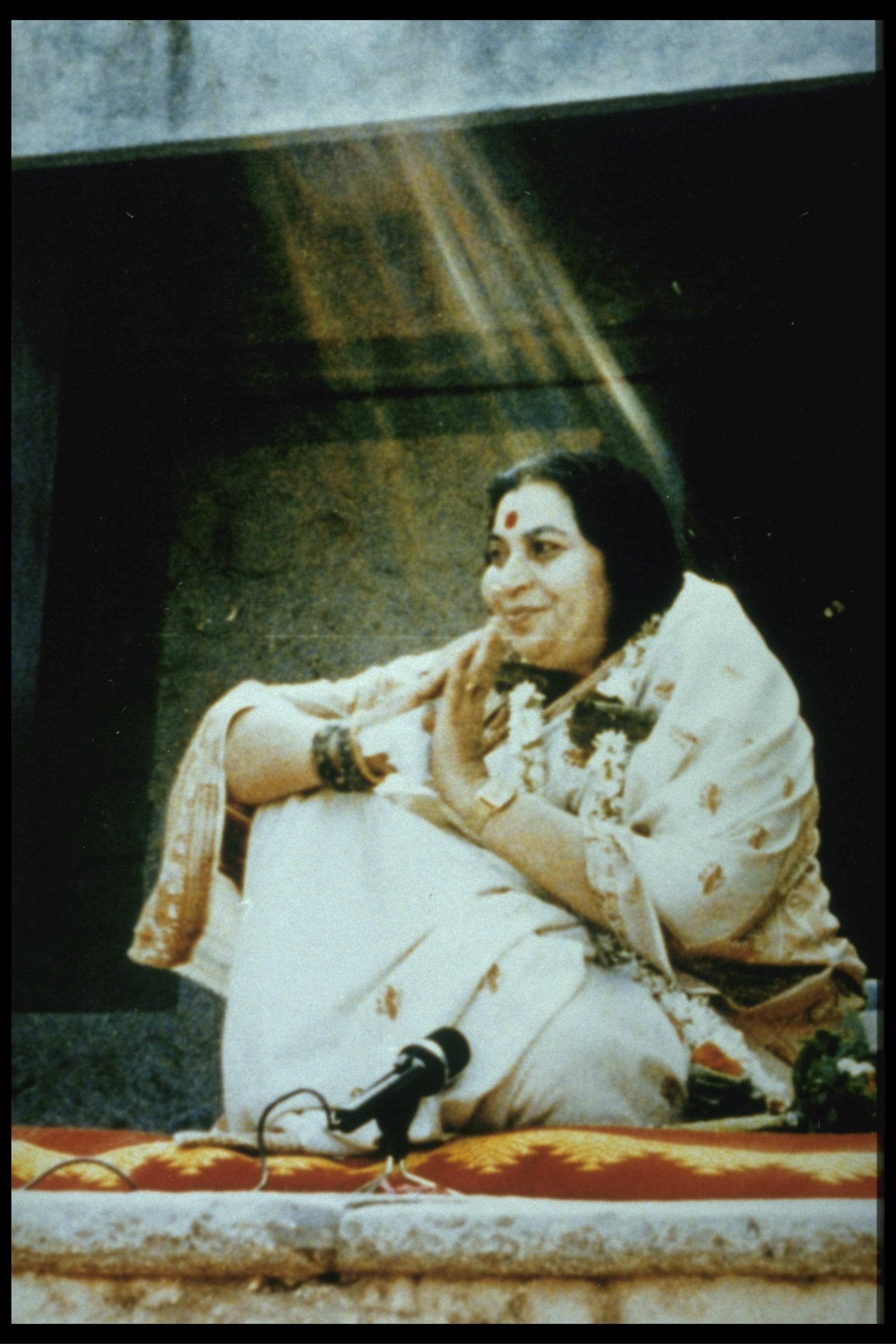 Shri Mataji -in A Rain of vibrations- old photo from public program in India -1980