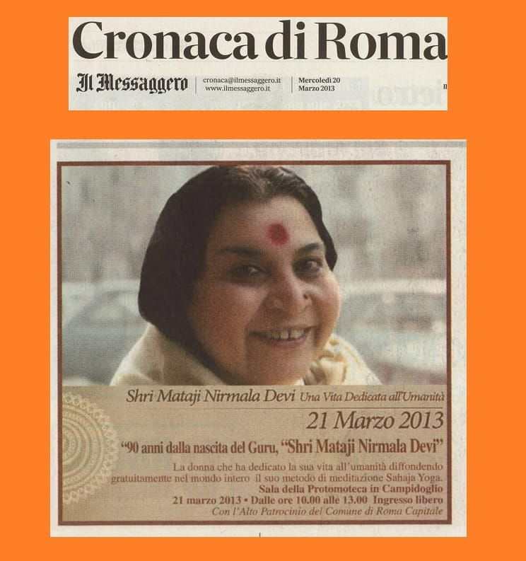 Shri Mataji on the 1st Page of Cronaca di Roma newspaper on March 20, 2013
