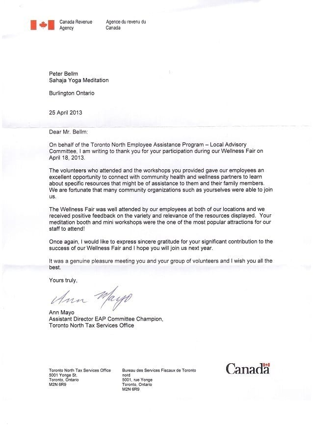 Canada Revenue Agency Thank You Letter For Sahaja Yoga Meditation
