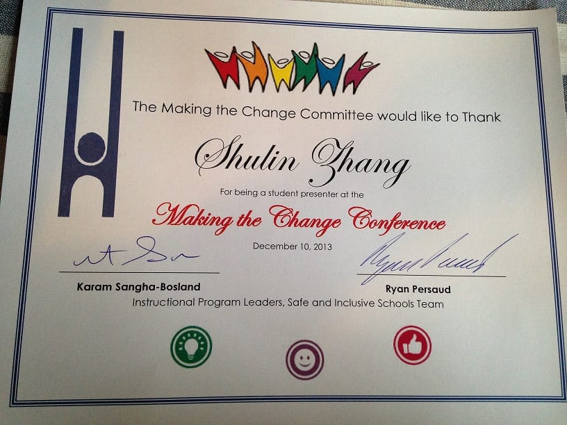 Official Thank you letter presented to Shulin - The making the Change Conference - Burlington Dec 2013