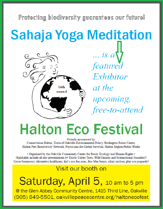 Once again Sahaja Yoga Meditation is a keen participant to Halton Eco Festival - as a featured exhibitor!