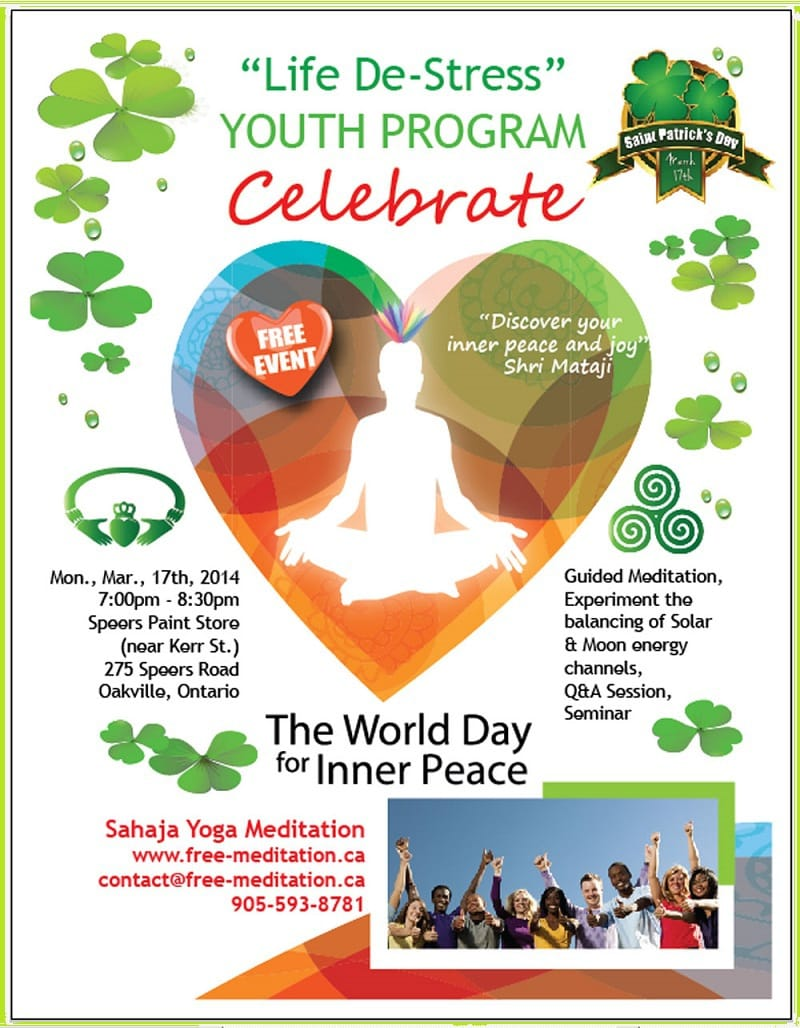 "Poster St Patrick's Day by Brenda - ""World Inner Peace Day in Oakville"""