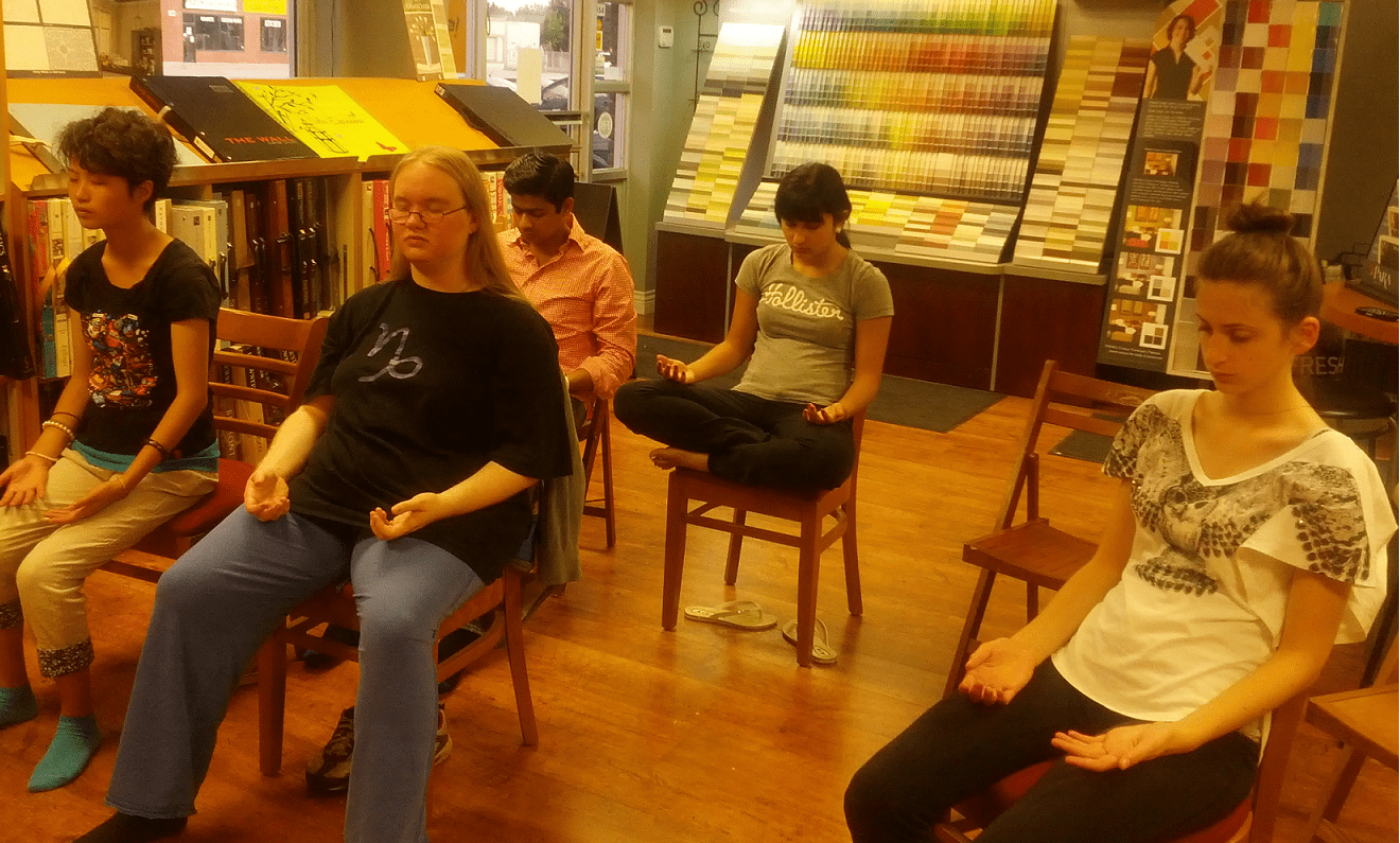 Snapshot during a 'silent meditation' at  our weekly Youth Classes in Oakville