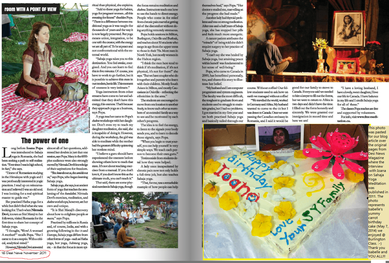 Desi News Magazine - Interview with Ioana about Sahaja Yoga meditation