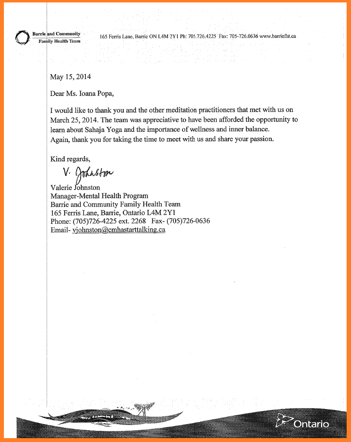 Thank you letter - Mental Health program -Community Family Health team - BARRIE